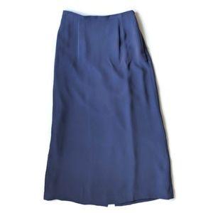 NWT Talbots Long Silk A-line Skirt Blue Purple 8